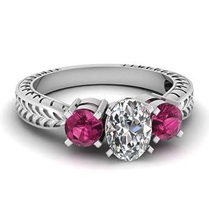 1 Ct Oval Shaped Diamond & Pink Sapphire Three Stone Engagement Ring VVS1-G 14K GIA