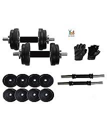 Bodyfit Home Gym Adjustable Dumbells 12 Kg PVC