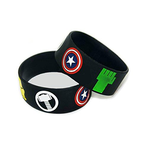 Marvel-Comics-The-Avengers-Superhero-Logos-Set-of-2-Rubber-Bracelet-Wristbands-with-Gift-Box