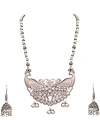 Sitashi Fashion/Antique Jewellery Peacock Design Oxidized/German Silver Long Necklace Set For Girls And Women