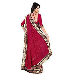Janasya Half-Half Heavy Border Saree with Red Color