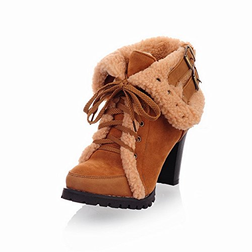 Weipoot Womens Round Closed Toe High Heels Frosted Solid Boots With Chunky Heels And Bandage, Yellow, 7.5 B(M) Us