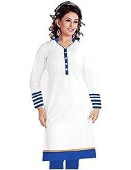 Tulsi Fashion Women's Cotton Semi-Stitched Kurti (WhiteBlue_White_Semi-Stitched)