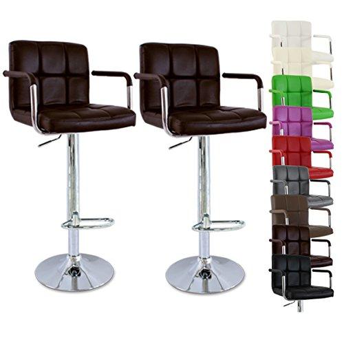 WOLTU-BH16-Serie-Design-Barhocker-mit-Armlehne-2er-Set-stufenlose-Hhenverstellung-verchromter-Stahl-Antirutschgummi-pflegeleichter-Kunstleder-gut-gepolsterte-Sitzflche-Braun