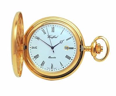 Woodford Pocket Watch 1207 Gold Plated Quartz Full Hunter
