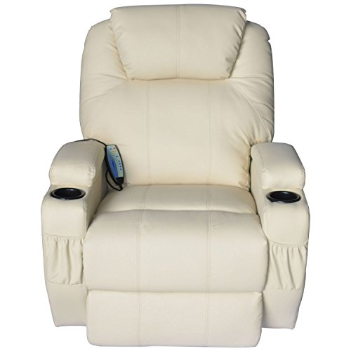 Massage Recliner Sofa Leather Vibrating Heated Chair Lounge Executive w/ Control - Cream