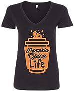 Threadrock Women's Pumpkin Spice Life V-neck T-shirt