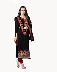 Karishma Black Cotton Semi Stitched Embroidered Salwar Suit