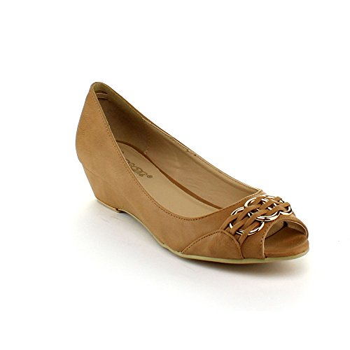 Dbdk Lorrae-3 Women'S Basic Comfy Peep Toe Slip On Low Wedge Pump Shoes, Color:Camel, Size:7 back-980398