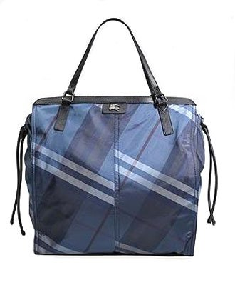 Burberry Buckleigh Check Checker Nylon Shopper Bag Purse Tote Royal Blue