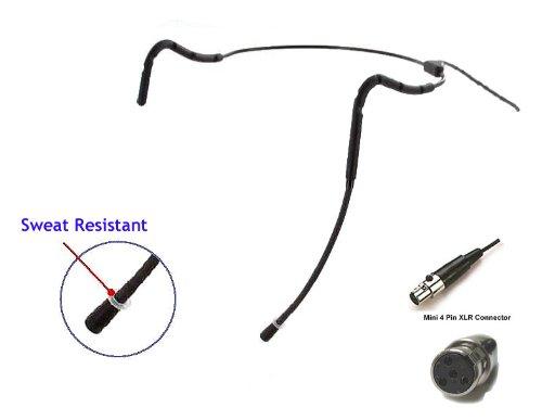 Av-Jefe Avl623 Professional Mini Sweat Resistant Headset Microphone For Shure Wireless Systems. Black Color. New Ergonomic, Lightweight, Flexible Frame