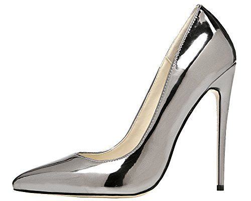 Maovii Women's Metallic Finish Pointy Toe Thin High Heels Patent Pumps Shoes For Party Prom 9 M US Platinum (Platinum Heels For Women compare prices)