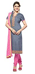 Khoobee Presents Embroidered Bhagalpuri Dress Material(Grey,Pink)
