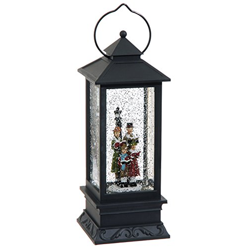Lighted Caroler Family Water Snow Glitter Globe Lantern Decor, 10.5 Inch, Battery Operated with Timer