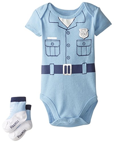 buy Vitamins Baby Baby-Boys Newborn Policeman Bodysuit with Socks, Blue, 3 Months for sale