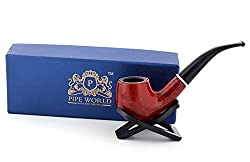 Pipe World Red Tobacco Smoking Pipe with Black Stand
