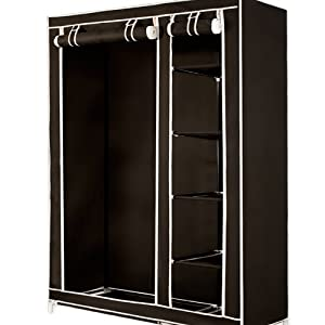 double canvas wardrobe with clothes hanging rail and. Black Bedroom Furniture Sets. Home Design Ideas