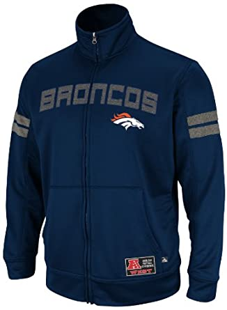 NFL Mens Denver Broncos Tailgate Time II Long Sleeve Mock Neck Synthetic (Ath Navy/Ath Gray Marled, XX-Large)