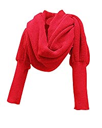 Women Solid Scarf with Sleeves Crochet Knit Long Soft Wrap Shawl Scarves (Red)