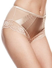 Rosie for Autograph Silk Midi Knickers with French Designed Rose Lace
