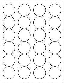"(6 SHEETS) 144 1-2/3"" BLANK CRYSTAL CLEAR GLOSSY ROUND CIRCLE PRINTABLE STICKERS FOR LASER PRINTERS ~ SIZE: 8-1/2""X11"" STANDARD SHEETS"