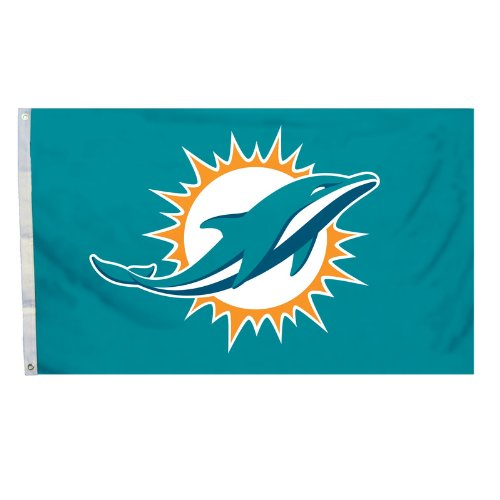 Nfl Miami Dolphins Logo Flag With Grommets, 3 X 5-Foot