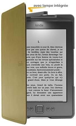 Amazon - Étui en cuir avec lampe intégrée pour Kindle - Vert olive [est uniquement compatible avec Kindle (5ème génération)]