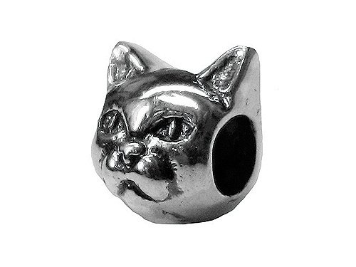 Zable(tm) Sterling Silver Cat Face 2-Sided Bead / Charm