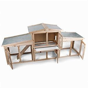happypet wrb204 cage a lapin clapier en bois xxl rongeur jardin animalerie. Black Bedroom Furniture Sets. Home Design Ideas