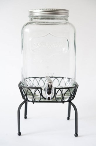 Yorkshire 2 Gallon Glass Mason Jar Beverage Dispenser with Metal Stand - Barn Weddings! (Two Gallon Beverage Dispenser compare prices)