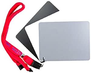 """DGK Color Tools DGK-XL Extra Large Size 3 Card Set - 4"""" x 5"""" White Balance Card 18% Gray Card for Digital and Film Photography with Premium Lanyard"""