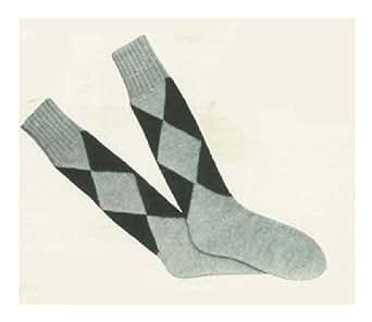 #1395 MENS ARGYLE SOCKS VINTAGE KNITTING PATTERN (Single Patterns) - Kin...