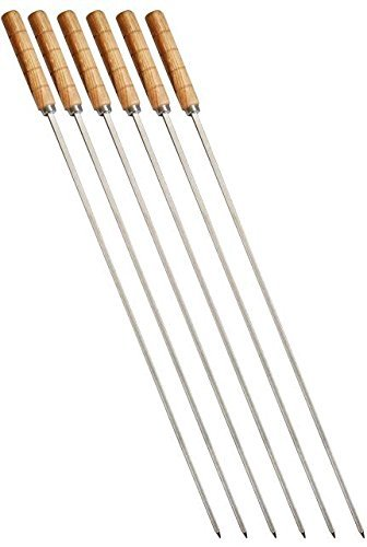 bbq skewers 6pc stainless steel strong and sturdy 23