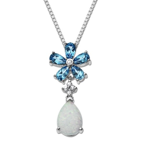 XPY Sterling Silver Blue Topaz and Created Opal Butterfly Flower Pendant Necklace