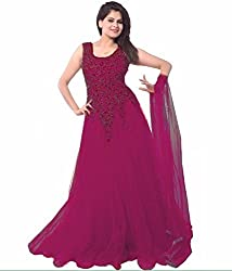 Women's Net Semi Stitched Purple Fancy Partywear Gown