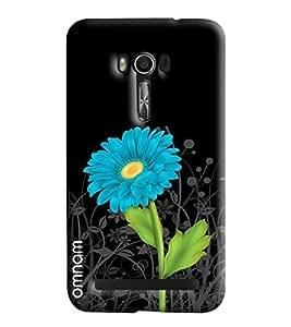 Omnam Blue Flower With Black Base Printed Designer Back Cover Case For Asus Zenfone Go