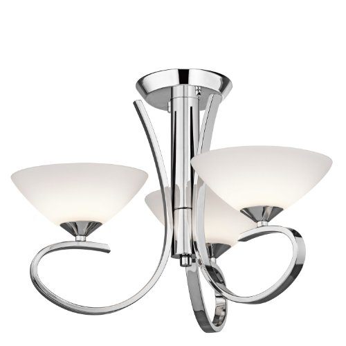 Kichler Lighting 43020CH Brookland 3-Light Convertible Pendant Fixture, Chrome Finish with Satin Etched Glass