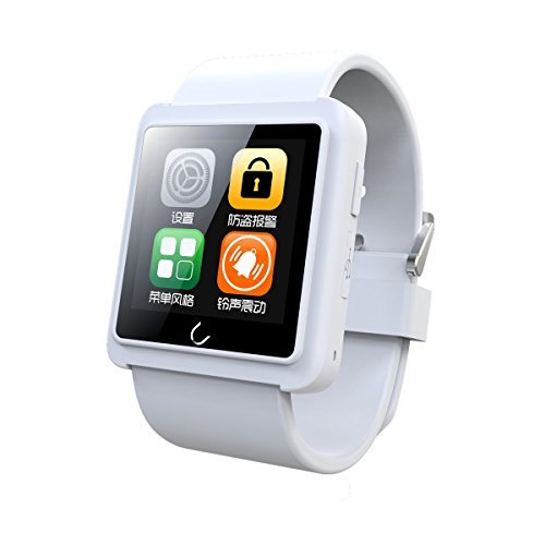 JideTech Uwatch U10L Wrist waterproof Smart Watch for iPhone 6 5 5S 4 4S Samsung S5 S4 Note 4 HTC Android Phone Smart phone (White)