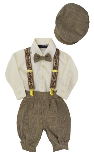 G284 Boys Vintage Knickers Outfit Suspenders (2T/2, Natural) front-870874