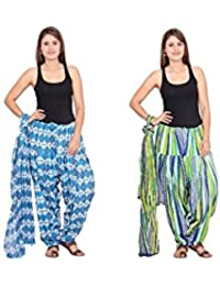 Rama Set Of 2 Printed Sky Blue & Green Colour Cotton Full Patiala With Dupatta Set