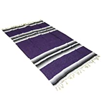 "54"" x 80"" Striped Mexican Blanket - Yoga Studio Quality, Purple"