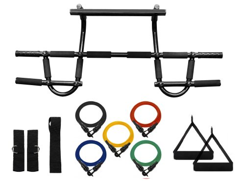 Chin up Pull up Bar and Resistance Bands Perfect to Use with P90x and Any Other Fitness Program.