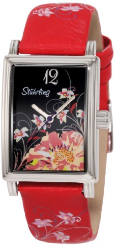Stuhrling Original Women's 306.1215H83 Vogue Audrey Botanica Swiss Quartz Red Leather Strap Watch