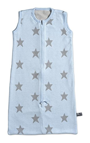 Baby'S Only Luxury Knitted Baby Sleeping Bag Pale Blue With Light Grey Stars & Soft Velor Lining