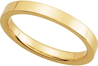Womens 14K Yellow Gold Flat Comfort Fit Wedding Band 25MM