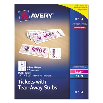 Printable Tickets w/Tear-Away Stubs, 1-3/4 x 5-1/2, Matte White, 200 Tickets/Pk, Sold as 200 Each (Avery Printable Tickets compare prices)