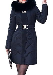 BORUIDESI Women's Designer Long Hooded Animal Fur Trim Down Parka Belted Jacket-Black-4XL