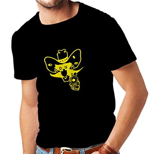 N4057 T-shirt da uomo Comboy up (Small Nero Giallo)