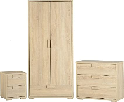 Cambourne Bedroom Set - Bedside cab - Chest of Drawers - Wardrobe - Oak Veneer