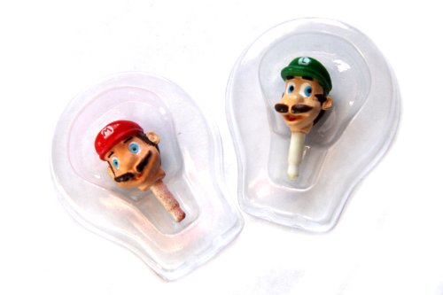 Popular Characters Super Mario Bros. Dust Plugs For Earphone Jack Cell Charms For Iphone 4 4S / Ipad / Ipod Touch / Any 3.5Mm Jack - Set Of 2 - Mario And Luigi